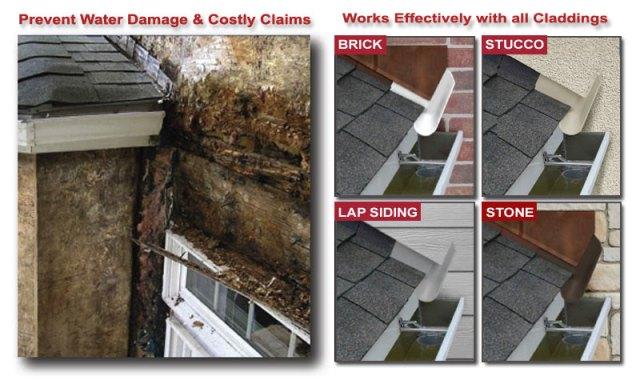 Rain gutter leaks at wall how to repair dovetail raingutter for Rain diverter flashing